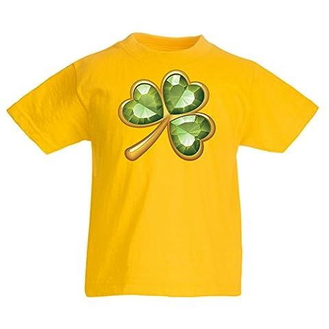 Kinder T-Shirt Irish shamrock St Patricks day clothing (14-15 years
