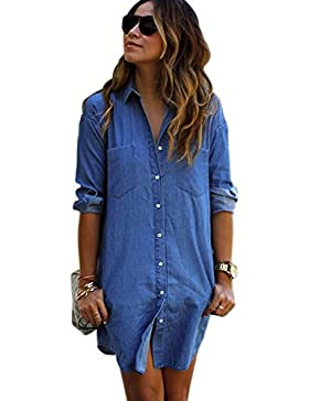 XFentech Camisa de Mujer Vestido Denim Azul con Botones Abajo Solapa Cardigans Tops