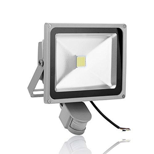 GRG LED-Scheinwerfer 30W mit Bewegungsmelder und Dämmerungssensor für den Außenbereich, leistungsstark, IP65,kaltweißes Licht, Gartenscheinwerfer, Bühnenscheinwerfer, Haus-Beleuchtung, Marktstand-Beleuchtung, Scheinwerfer aus Aluminium grau