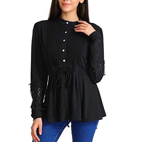 Oliviavan Damen Blusen Schöne Plissee Spitze Bandage Shirt Dirndl blusen Pulli Oberteile Streetwear Schwarz T Shirts Mode Tops Shirt Zerzauste Kleidung