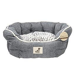 AllPetSolutions Alfie Range Fleece Lined Warm Dog Bed, Medium, Grey