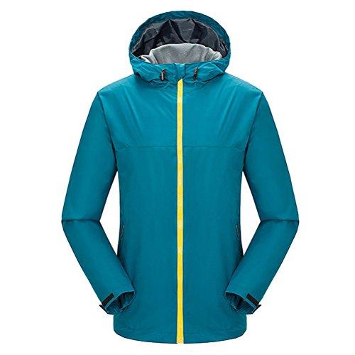 Zhhlinyuan vêtement de sport Men's Hooded Softshell Jacket Breathable Lightweight Mountain Bike Jacket Lake Blue