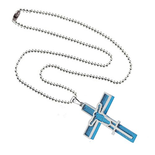 Sullery Christams Gift Crucifix Jesus Cross Christian Locket Stainless Steel Pendant With Chain Unisex