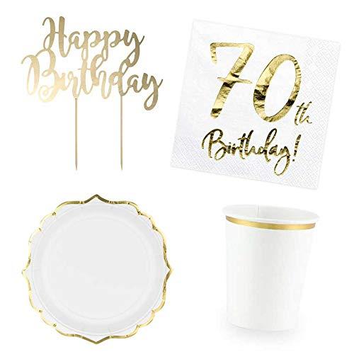 DekoGuru® Produktset Basic weiß mit gold - für 12 Pers (70. Geburtstag) (70. Geburtstag Teller)