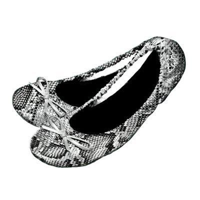 Your Solemates Ballerines de danse pour femme pliables et sac pour le transport Snakeskin (Black/Silver)