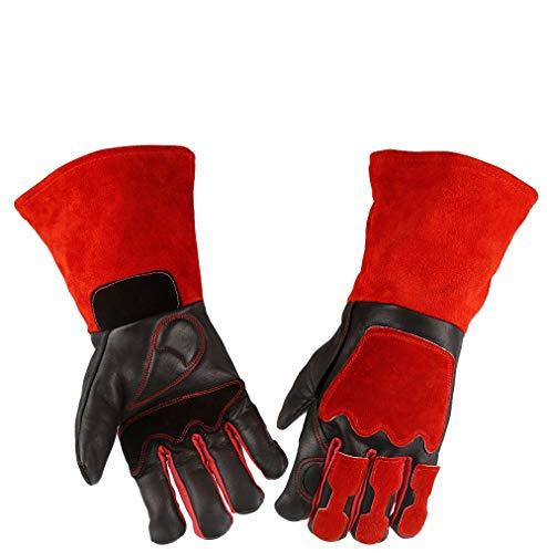 Schweißerhandschuh, Leder Hitzebeständige Schweißhandschuhe für Schweißer/Küche/Kochen/Kamin/Tierbehandlung/Schwarz-Roter Grill (14 Zoll) -