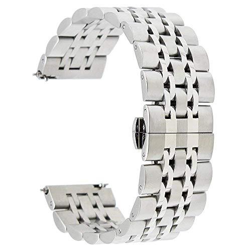 TRUMiRR 22mm Schnellwechsel Armband Edelstahl Schmetterling Gürtelschnalle kompatibel für Samsung Galaxy Watch 46mm, Gear S3 Classic Frontier, Moto 360 2 46mm, Asus ZenWatch 1 2 Herren,Pebble Time,LG