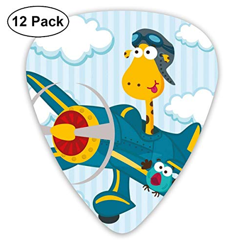 Celluloid Guitar Picks - 12 Pack,Abstract Art Colorful Designs,Goofy Giraffe On A Blue Plane With Two Birds Animal Aviation Goggles,For Bass Electric & Acoustic Guitars. -