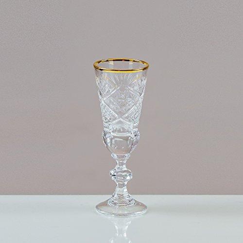 Sieg aus Glas mit Goldrand Sunburst Sherry Gläser 24% Bleikristall 100% handgefertigt (Set von 6) Cut Punch Bowl