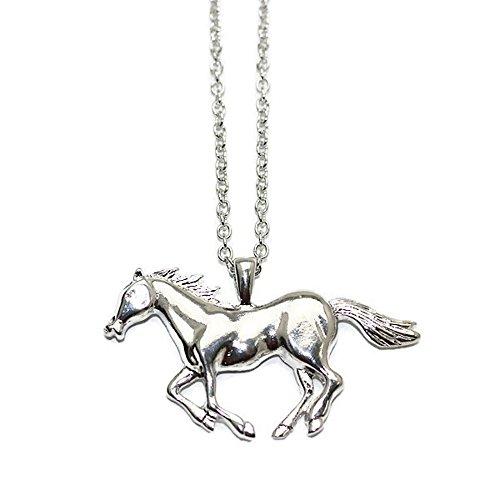 Isalia Halskette lang mit Anhänger Pferd im Galopp Glieder-Kette (Grey)