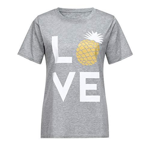 TWIFER Sommer Damen T Shirt Ananas Logo Gedrückt Sommer Kurzarm Kausalen Top Shirt Bluse