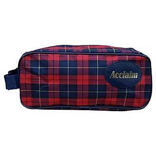 Acclaim Mull Shoe Boot Bag Red Navy Tartan Plaid Material Zip Top & Handle 14