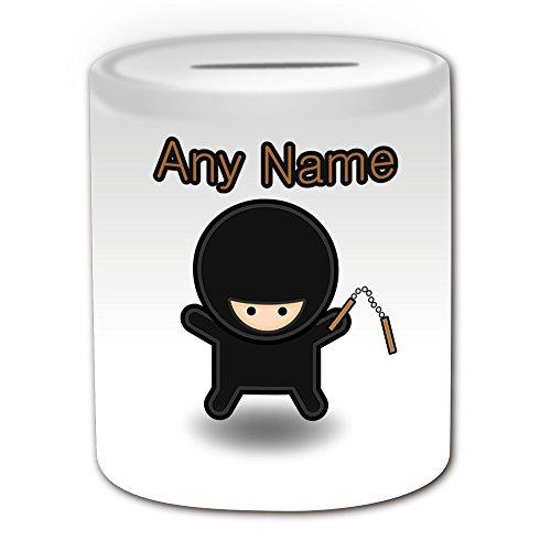 chenk–Ninja mit Nunchaku Spardose (Märchen Design Thema, weiß)–alle Nachricht/Name auf Ihre einzigartige–Nunchucks chainsticks (Ninja Mit Nunchucks)