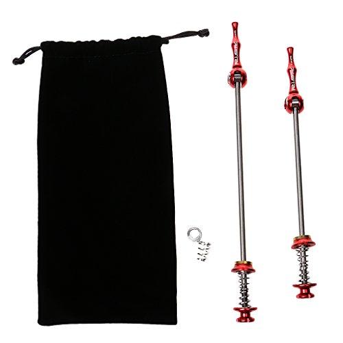 Schnellspannset Ein Paar Fahrrad Spieße, Vorne + Hinten, mit Tasche Rot