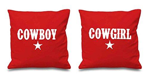 Cowboy Cowgirl Rouge Housses de coussin 40,6 x 40,6 cm Couples Coussins Saint-Valentin anniversaire Boyfriend Girlfriend Chambre à coucher Coussin décoratif Maison