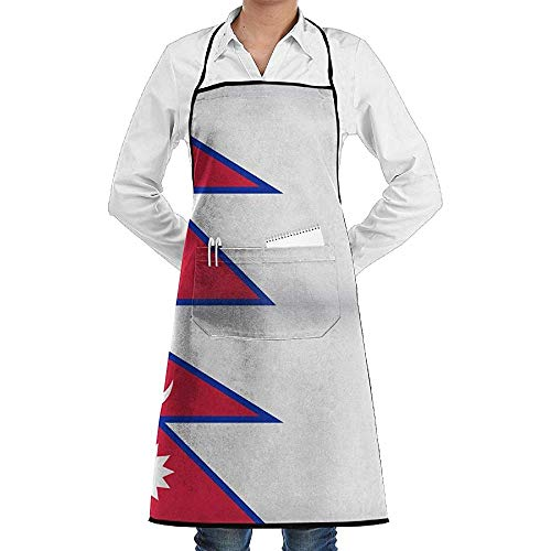 UQ Galaxy Schürze,Nepal Flagge Mond Sonne Schürze Spitze Erwachsene Chef Einstellbare Lange Voll Schwarz Kochen Küchenschürzen Lätzchen Mit Taschen für BBQ Backen Crafting (Mann Im Mond Kostüm)