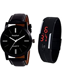 Tutile Black Analouge With Digital Couple Watch Combo For Women And Men Watch - For Boys & Girls