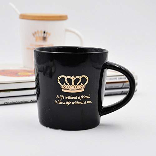 GGXH Kreative Keramik Tasse mit Deckel mit Löffel Porzellan Tasse Büro Becher, kleine Schwarze...