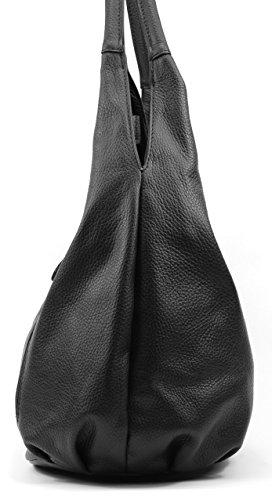 OH MY BAG Sac à Main CUIR grainé femmes porté main et épaule Modèle Mandalay Noir