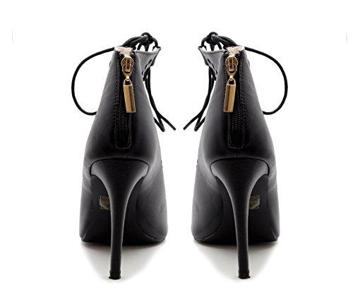 Mesdames Femmes Découpe en dentelle à zip Cheville Talon Haut bretelles Sandales Noir - Noir/similicuir