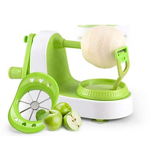 Rziioo Apfelschäler, 2 in 1 Apfelschäler Slicer Splitter Corer Dicer Cutter Divider Peeler Küche manuelle Maschine