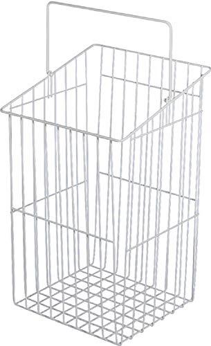 Gedotec Gitterkorb stapelbar Wäschekorb weiß Wäsche-Korb mit schrägem Rand und schwenkbarem Bügel | Wäsche-Sammler stapelbar | Metall RAL 9010 weiß | Made in Germany | 1 Stück