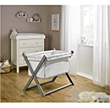 Clair de Lune Stars & Stripes Folding Breathable Crib - Grey