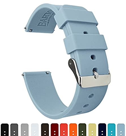 BARTON Silicone Quick Release- Choose Colour & Width (16mm, 18mm, 20mm, 22mm) - Soft Blue 16mm Watch Band