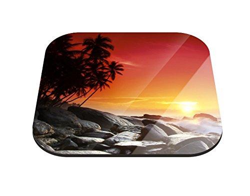Klebefieber Untersetzer Sonnenuntergang in der Südsee B x H: 10cm x 10cm - 20er Pack