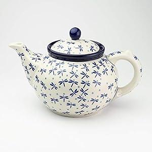 Polish Pottery 1.2 Litre Teapot Dragonfly