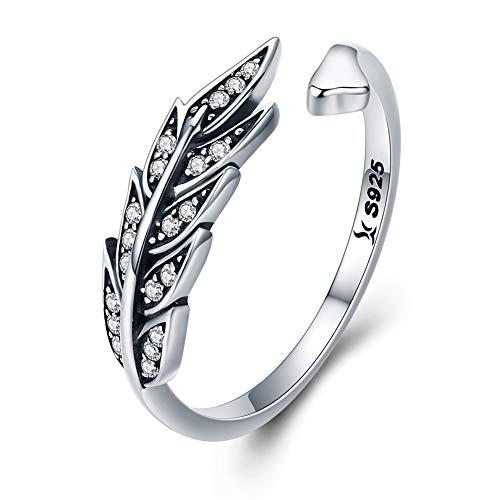 Co & Lacodier 925er Sterling Silber Mädchen Ring, Einstellbar Öffnen Blätter Stil Ring Der Größe veränderbar Mode Modisch Jung Stil Schmuck zum Mädchen Jugendliche Geschenk Universal Größen