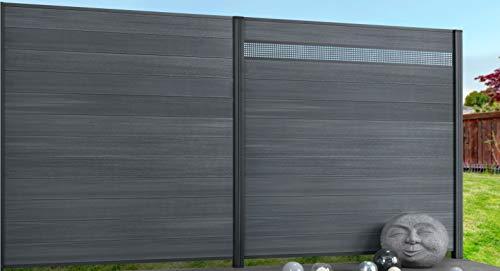 *Exklusiv Sichtschutz System WPC Zaun grau mit zusätzlicher Kunststoffbeschichtung, 12er-Bohlenset mit 2 Abschlussleisten Silber (1 Zaunelement 177 x 177 cm ohne Pfosten)*