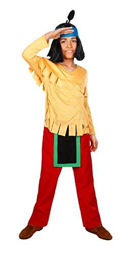 Perücke Zubehör Kostüm Indianer - Maskworld - Yakari Kinderkostüm 4teilig - Indianer Kostüm für Jungen - Lizenzprodukt Zeichentrickserie (110/116)