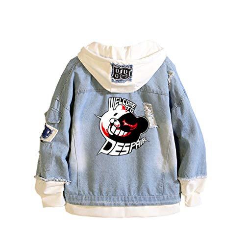Cosstars Danganronpa Monokuma Anime Chaquetas de Mezclilla Denim Jacket Adulto Cosplay Jeans Hoodie Sudaderas Cárdigan Azul 3 L