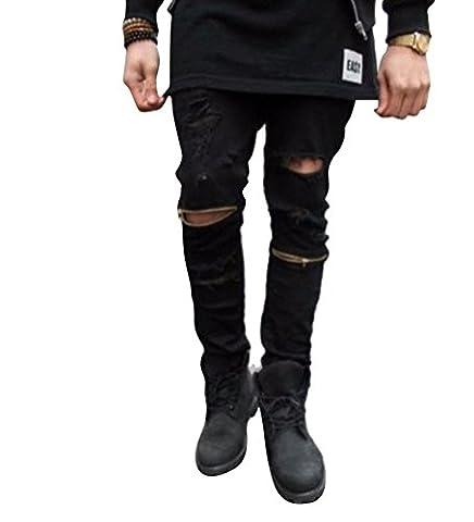 Brinny Herren Löcher Denimhosen Skinny Fit Bikerchino Ausgefranst Ripped Jeans