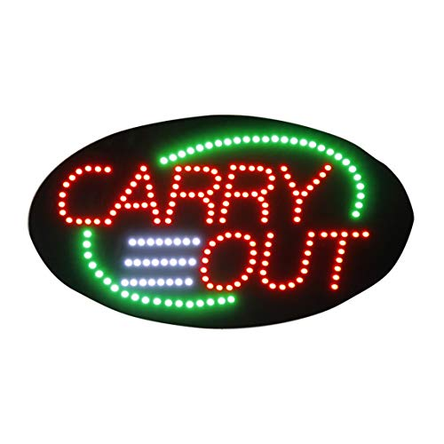 LED Carry Out Open Light Sign Super Bright High Quality Electric Advertising Display Board for Pizza Hamburger Burger Sandwich Chicken Wing Fast Food Restaurant Business Shop Store 27 x 15 inches