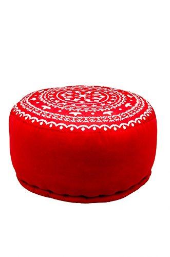 Orientalisches marokkanisches orient indisches rundes Sitzkissen Hocker Sitzhocker Pouf Sitzpouf bestickt jabran rot - 52cm