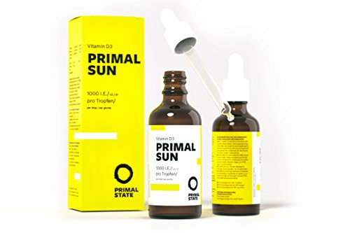 Vitamin D Tropfen PRIMAL SUN | In Kokosöl gelöst | Unabhängig zertifiziertes Vitamin D3 | Hohe Bioverfügbarkeit | Hochdosierte 1000 I.E. je Tropfen | 1150 Tropfen