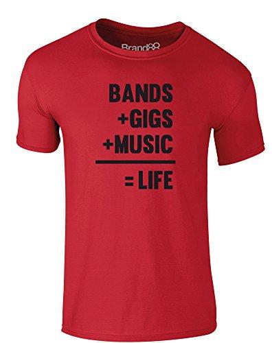 Brand88 - Bands + Gigs + Music = Life, Erwachsene Gedrucktes T-Shirt Rote/Schwarz