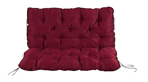 Meerweh Auflage mit Rückenteil Sitz und Rückenkissen mit Bänder Polsterauflage Bankauflage, rot, ca. 100 x 98 x 10 cm