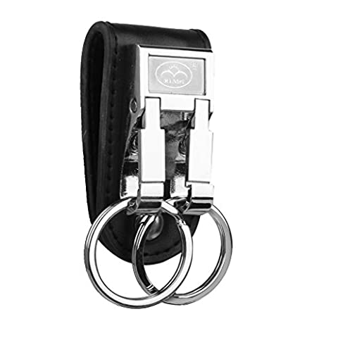 Phenovo 1pc Artificial Leather Strap Alloy Double Ring Key Chain