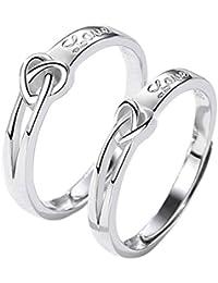 iBaste Mujer Anillo de compromiso anillo par de plata ajustable Partner anillos par Trau anillos