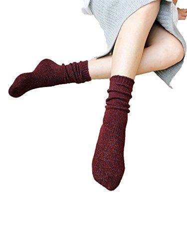 Zando classico lana morbido e leggero Outdoor Casual Calzini per le donne Dark Red Taglia unica