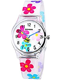 Zeiger Kids Watches Cute Rotary Butterfly Watch for Child Beautiful Flower Strap Watch for Girls Lovely Children Wrist Watch for Daughter KW009