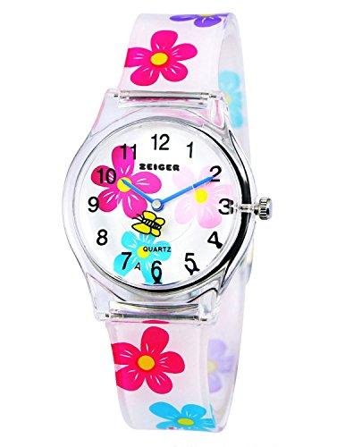 Zeiger KW009 Orologio da polso per bambina o ragazza, cinturino in silicone con motivo floreale colorato, quadrante analogico