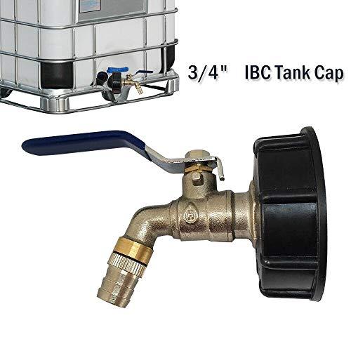 1x IBC S60X6 Raccord robinet en laiton chromé et plastique, diamètre de sortie 3/4\