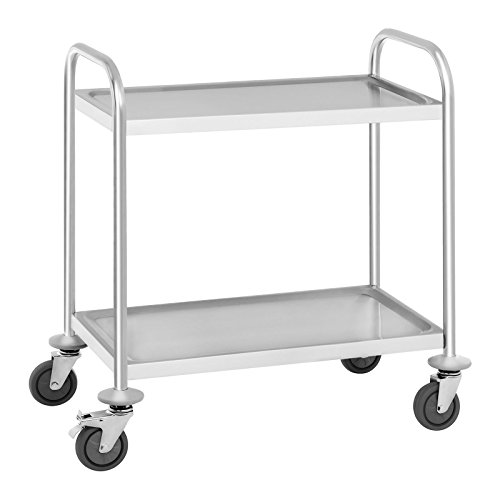Servierwagen Küchenwagen Transportwagen Rollwagen Barwagen (Tragfähigkeit: 150 kg, Tablettabstand: 45,5 cm, Maße der Borde: 68 x 38 x 0,3 cm, vibrationsarme Schwenkrollen) - Royal Catering