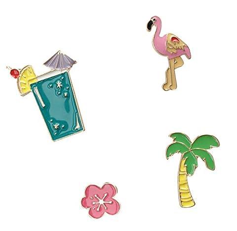 Brosche Anstecknadel Anstecker Pins Metall Brosche 4 Stück Set Cocktail Flamingo Blume Palme