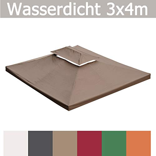 habeig WASSERDICHT Ersatzdach 3x4m Dach 340g für Pavillon Kaminabzug Pavillondach PVC (Beige #40)