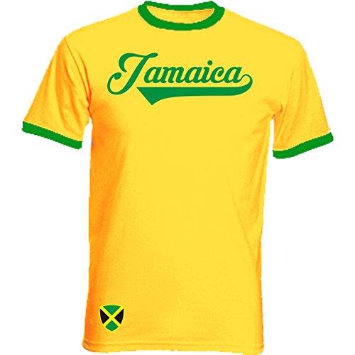 Jamaika Ringer Retro TS - gelb - WM 2018 T-Shirt Trikot Look (2XL)